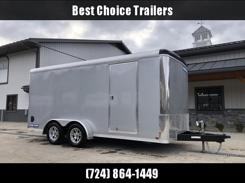 """2021 Sure-Trac 7x16' Pro Series Enclosed Cargo Trailer 7000# GVW * SILVER EXTERIOR * .030 SCREWLESS EXTERIOR * ROUND TOP * ALUMINUM WHEELS * 1 PC ROOF * 6'6"""" HEIGHT * 6"""" FRAME * 16"""" O.C. C/M * PLYWOOD * TUBE STUDS"""