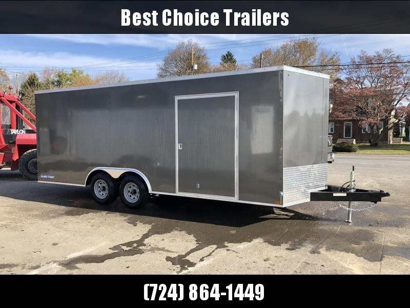 "2020 Sure-Trac 8.5x20' Enclosed Car Hauler Trailer 9900# GVW * CHARCOAL EXTERIOR * V-NOSE * RAMP * 5200# AXLES * .030 SEMI-SCREWLESS EXTERIOR * 16"" O.C. C/M * TUBE STUDS * 48"" RV DOOR * SET BACK JACK * UNDERCOATED * BULLET LED'S"