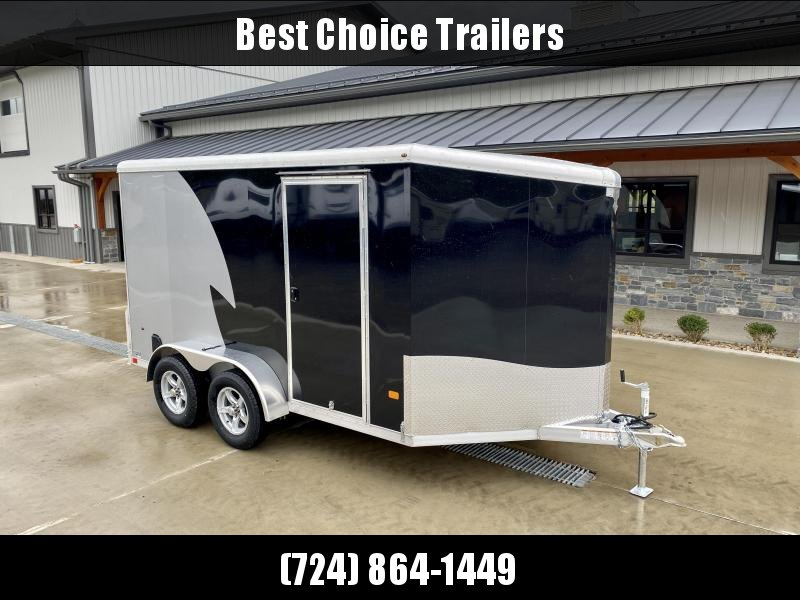 """2022 NEO Trailers 7X12' NAMR Aluminum Enclosed Motorcycle Trailer * BLACK+SILVER * VINYL WALLS * +6"""" HEIGHT * ALUMINUM WHEELS * TIE DOWN SYSTEM"""