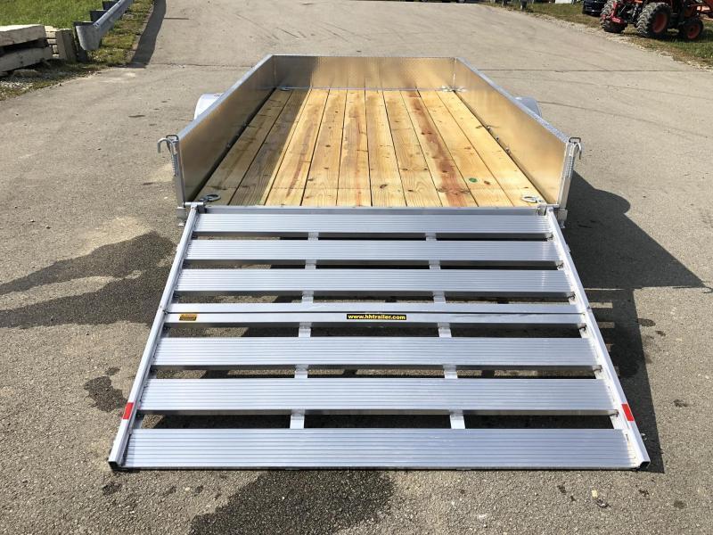 "2021 H and H 76x10' Aluminum Solid Side Utility Landscape Trailer 2990# GVW * SOLID ALUMINUM DIA PLATE SIDES * BI FOLD GATE * ALUMINUM WHEELS * TRIPLE TUBE TONGUE * TUBE TONGUE * SWIVEL JACKS * STAKE POCKETS * EXTENDED 54"" GATE * CLEARANCE"