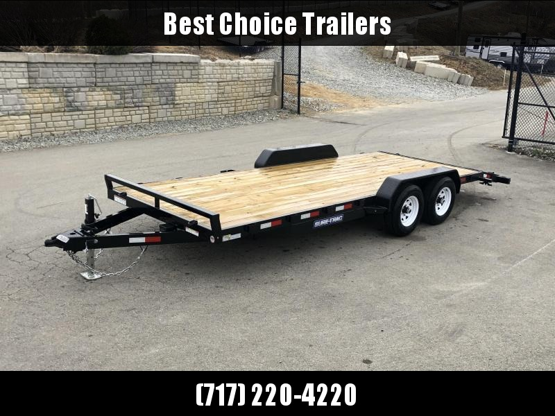 2021 Sure-Trac 7x22' Wood Deck Car Hauler 9900# GVW * RUBRAIL * REAR SLIDE OUT PUNCH PLATE FINGERJOINTED RAMPS * DIAMOND PLATE FENDERS * SEALED WIRING HARNESS * SET BACK JACK * STAKE POCKETS/D-RINGS * DIAMOND PLATE DOVETAIL