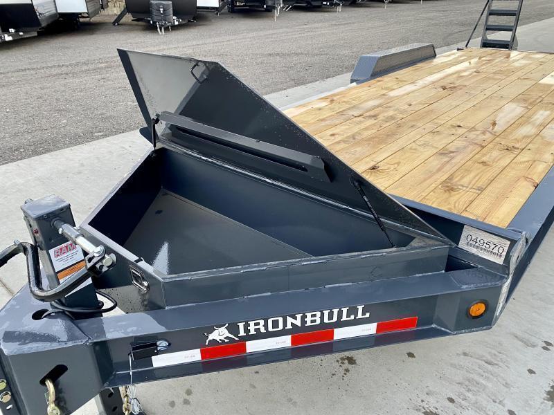 """2021 Iron Bull 7x22' Equipment Trailer 14000# GVW * 8"""" I-BEAM FRAME * OVERSIZE TOOLBOX * LONGER 6' RAMPS * DEXTER AXLES * HD COUPLER"""