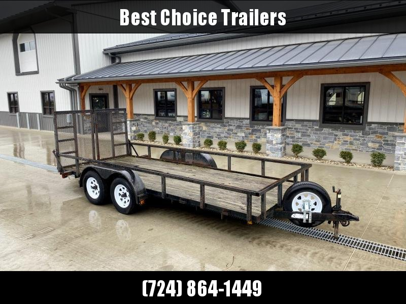 USED 2007 Top Brand 7x16' Utility Landscape Trailer 7000# GVW * TUBE TOP * HD TUBE SPLIT GATE * SPARE TIRE