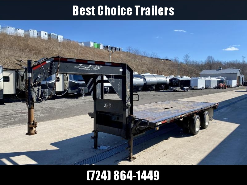 USED 2005 JJN 102x25' Gooseneck Deckover 24000# GVW * 14-PLY TIRES *  EXTENDED NECK * TOOL TRAY * STRIGHT DECK * DUAL JACKS * TANDEM DUALS * RUBRAIL/STAKE POCKETS
