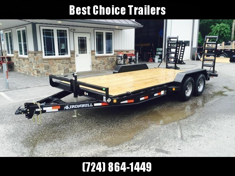 """2022 Ironbull 7x18' Equipment Trailer 9990# GVW * KNIFEEDGE RAMP W/ ADJUSTABLE SUPPORT * REMOVABLE FENDERS * 16"""" O.C. STRUCTURAL CHANNEL C/M * RUBRAIL/STAKE POCKETS/PIPE SPOOLS/D-RINGS * ADJUSTABLE CAST COUPLER * 7K JACK * DEXTER'S * IRONCLAD WARRANTY"""