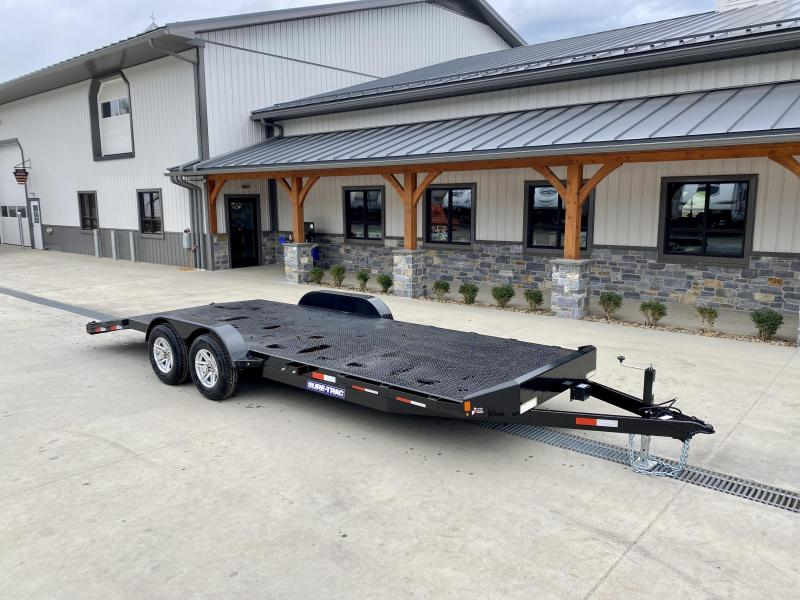 """2021 Sure-Trac 7x22' Steel Deck Car Hauler 9900# GVW * 4' BEAVERTAIL * LOW LOAD ANGLE * ALUMINUM WHEELS * 5"""" TUBE TONGUE/FRAME * AIR DAM * RUBRAIL/STAKE POCKETS/D-RINGS * REMOVABLE FENDER * FULL SEAMS WELDS * REAR SLIDEOUT PUNCH PLATE RAMPS * CLEARANCE"""
