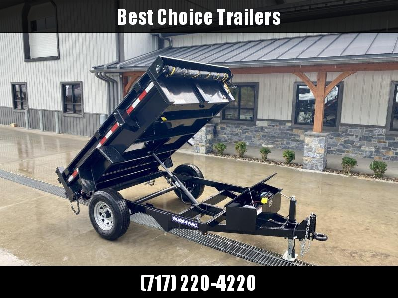 2021 Sure-Trac 5x8' Single Axle Dump Trailer 5000# GVW * TARP KIT * COMBO DOORS * ADJUSTABLE COPUPLER * DROP LEG JACK * INTEGRATED KEYWAY * SPARE TIRE MOUNT * TARP PREP * D-RINGS * DIAMOND PLATE FENDERS * POWER UP/POWER DOWN * TRIPLE TUBE TONGUE * CLEARAN