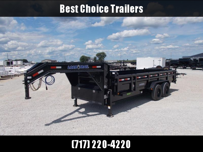 "2021 Load Trail 7x20' Gooseneck Dump Trailer 20000# GVW * DEXTER 10000# TORSION AXLES * OVERSIZE 6X30"" HOIST * 7GA FLOOR * 3-WAY GATE * I-BEAM FRAME * TARP KIT * INTEGRATED KEYWAY * POWDER PRIMER * DUAL 12K JACKS"