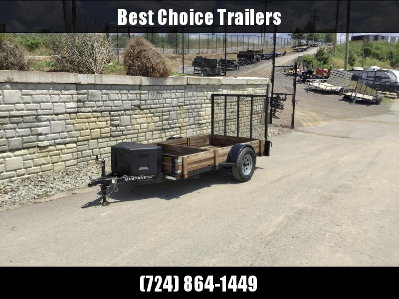 USED 2017 Mustang Trailers 5x10' Utility Trailer 2990# GVW * TUBE TONGUE/FRAME/GATE * TOOLBOX * SPARE MOUNT * SPRING ASSIST GATE * WOOD SIDES/COMPARTMENTS