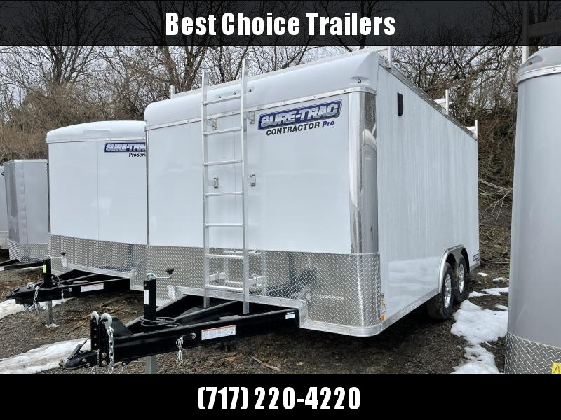 2021 Sure-Trac 8.5x16' Enclosed Contractor Pro 9900# GVW * COMMERCIAL ENCLOSED TRAILER * LADDER RACKS * FRONT LADDER * 5200# AXLES * HD RAMP DOOR * INTEGRATED KNIFE EDGE * TORSION * SCREWLESS * BACKUP LIGHTS * EXT TONGUE * ADJUSTABLE COUPLER * BULLNOSE