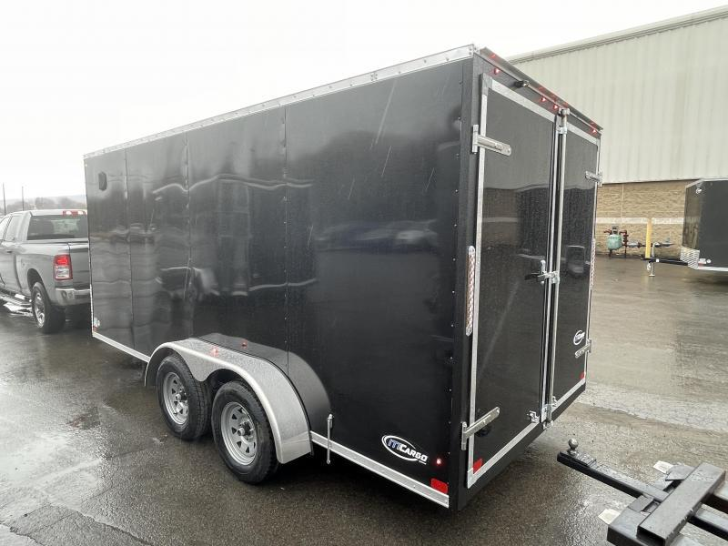 "2021 ITI Cargo 7x16' Enclosed Cargo Trailer 7000# GVW * BARN DOORS * BLACK EXTERIOR * .030 SEMI-SCREWLESS * 1 PC ROOF * 6'6 INTERIOR * 3/8"" WALLS * 3/4"" FLOOR * PLYWOOD * 24"" STONEGUARD * HIGH GLOSS PAINTED FRAME * RV DOOR"