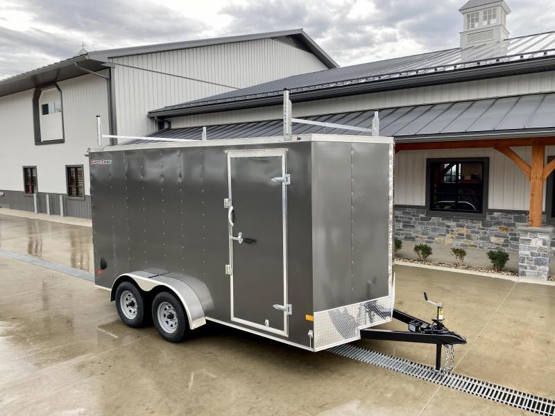 "2022 Wells Cargo 7x14' Fastrac DELUXE Enclosed Cargo Trailer 7000# GVW * 3 LADDER RACKS * CHARCOAL EXTERIOR * RAMP DOOR * V-NOSE * .030 EXTERIOR * 7' HEIGHT - UTV PKG * TUBE STUDS * 3/8"" WALLS * 1 PC ROOF * 16"" O.C. WALLS * BULLET LED'S"