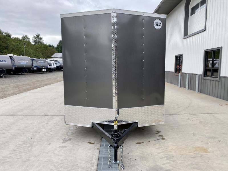 "2022 Wells Cargo 7x14' Fastrac DELUXE Enclosed Cargo Trailer 7000# GVW * CHARCOAL EXTERIOR * RAMP DOOR * V-NOSE * .030 EXTERIOR * 7' HEIGHT - UTV PKG * TUBE STUDS * 3/8"" WALLS * 1 PC ROOF * 16"" O.C. WALLS * BULLET LED'S"