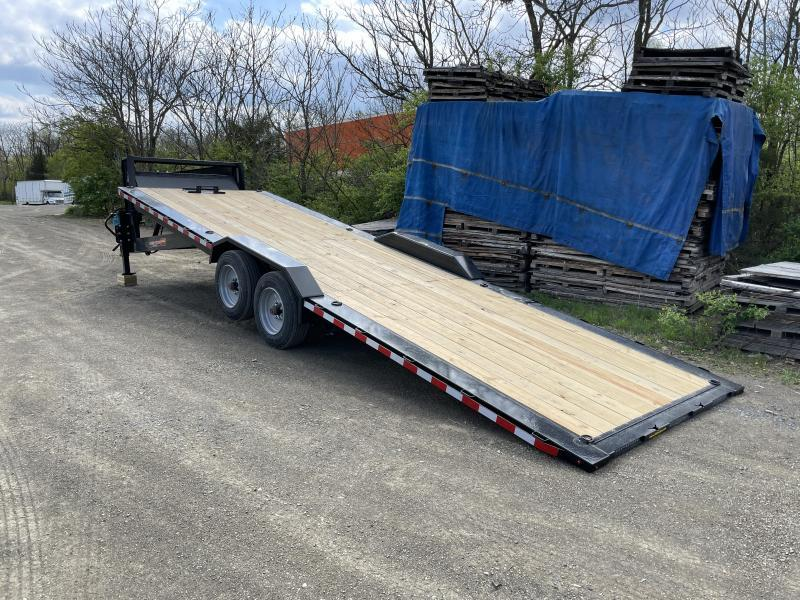 "2021 H&H 102x26' Gooseneck Power Tilt Equipment Trailer 16000# GVW * GOOSENECK COUPLER * 8000# AXLES * POWER TILT * FRONT TOOLBOX * 102"" DECK OUTRIGGERS * DRIVE OVER FENDERS * WINCH PLATE * INTEGRATED TAIL LIGHTS * CHANNEL C/M"
