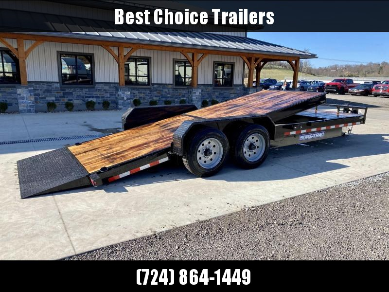 "2021 Sure Trac 7x22' Gravity Tilt Equipment Trailer 16000# GVW * TOOLBOX * OAK DECK * 8000# AXLE UPGRADE * 18+4' SPLIT DECK * 17.5"" 16-PLY RUBBER * 3 3/8"" BRAKES * 8"" TONGUE/FRAME/BEDFRAME UPGRADE * HD COUPLER * 12K JACK * RUBRAIL/STAKE POCKETS/D-RINGS *"