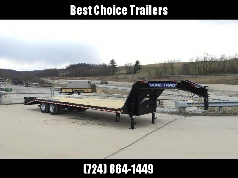 "2019 Sure-Trac 102x30' Gooseneck Beavertail Deckover Trailer 22500# GVW * DEXTER AXLES * FLIPOVER RAMPS + SPRING ASSIST * 12"" PIERCED I-BEAM * RUBRAIL/STAKE POCKETS/PIPE SPOOLS/10 D-RINGS * CROSS TRAC BRACING * HD BEAVERTAIL * CLEARANCE"