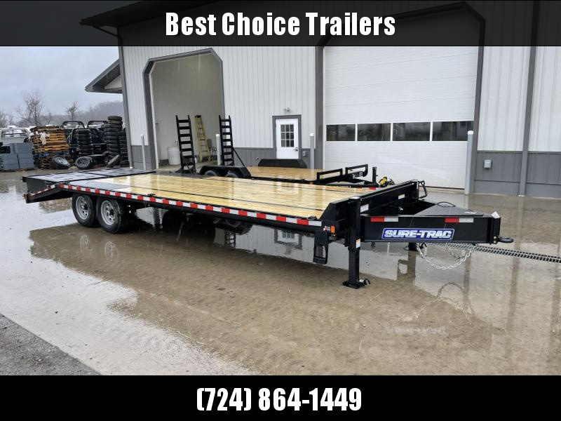 "2021 Sure-Trac 102x30' HD Beavertail Deckover Trailer 17600# GVW * A-FRAME TOOLBOX * DUAL JACKS * 8000# AXLES * 17.5"" 16-PLY TIRES * 3 3/8"" BRAKES * FULL WIDTH RAMPS (STAND UP OR FLIPOVER) * 12"" I-BEAM * PIERCED FRAME * RUBRAIL/STAKE POCKETS/PIPE SPOOLS/1"