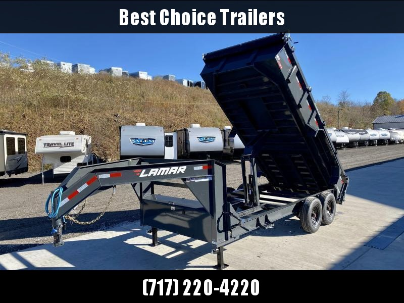 "2021 Lamar 7x16' Gooseneck Dump Trailer 14000# GVW * DUAL JACKS * FULL TOOLBOX * OIL BATH * REAR JACKSTANDS * 7GA FLOOR * 14-PLY TIRES * TARP KIT * SCISSOR HOIST * CHARCOAL * RIGID RAILS * NESTLED I-BEAM FRAME 28"" H * 3-WAY GATE * 12"" O.C. C/M"
