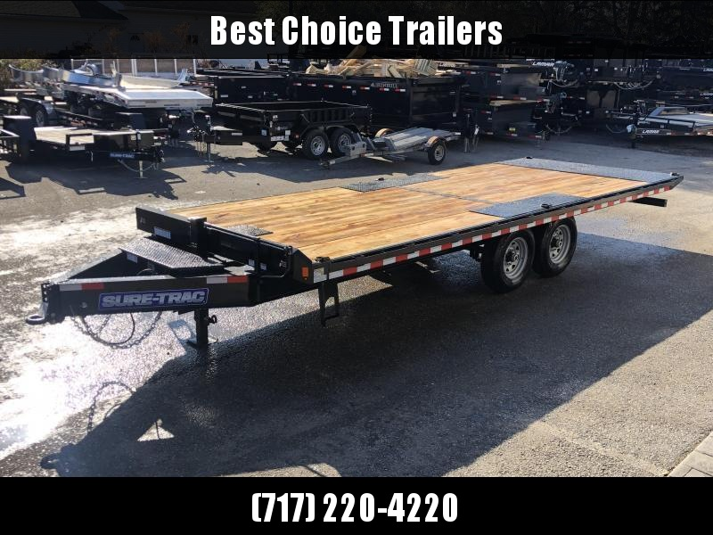 """2020 Sure-Trac 102x22' Power Tilt Deckover 15000# GVW * WINCH PLATE * OAK DECK UPGRADE * DUAL PISTON * 10"""" I-BEAM MAINFRAME * 6"""" TUBE SIDE RAIL * RUBRAIL/STAKE POCKETS/PIPE SPOOLS/8 D-RINGS * LOW LOAD ANGLE"""