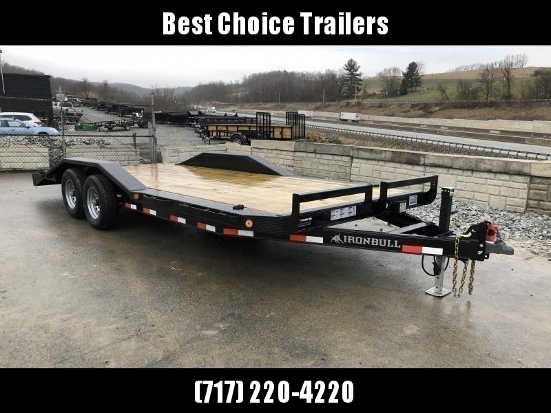 """USED 2019 Ironbull 102""""x22' Buggy Hauler Car Trailer 9990# GVW * 102"""" DECK * DRIVE OVER FENDERS * 16"""" O.C. FLOOR * 6"""" CHANNEL TONGUE/FRAME * CHANNEL C/M * RUBRAIL/STAKE POCKETS/PIPE SPOOLS/D-RINGS * ADJUSTABLE COUPLER * DROP LEG JACK * DEXTER'S"""