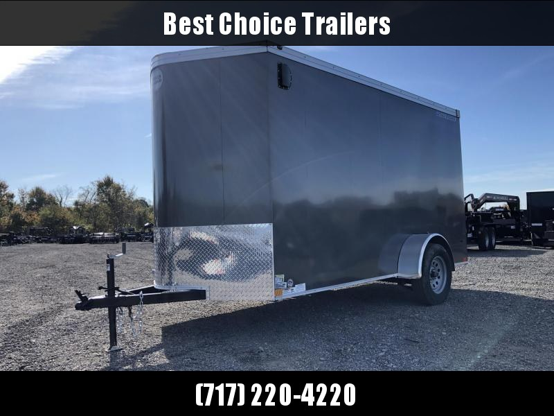 """2021 Wells Cargo 6x10' Road Force Enclosed Cargo Trailer 2990# GVW * SILVER EXTERIOR * RAMP DOOR * V-NOSE * SCREWLESS .030 EXTERIOR * 6'6"""" HEIGHT * TUBE STUDS * 1 PC ROOF * 16"""" O.C. C/M * ARMOR GUARD * RV DOOR * BULLET LED'S"""
