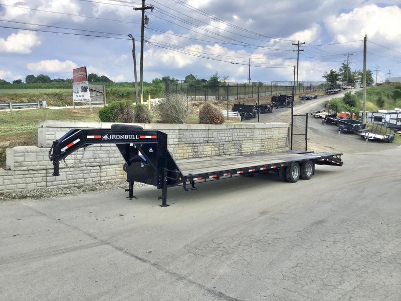 USED 2019 Ironbull 102x27+5' Gooseneck Beavertail Flatbed Deckover 22000# GVW * FULL WIDTH RAMPAGE RAMPS * PIERCED FRAME * SPARE TIRE * UNDER FRAME BRIDGE