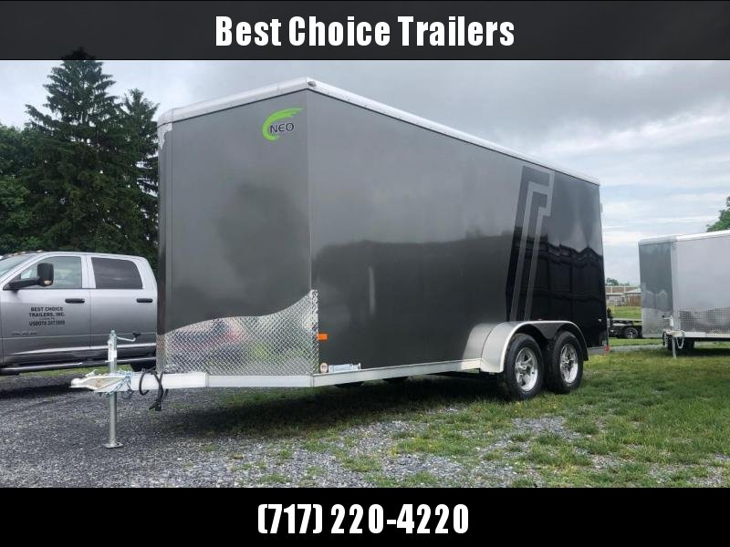2020 Neo 7x16 NAVR Aluminum Enclosed Cargo Trailer * BLACK N CHARCOAL2-TONE EXTERIOR W JD SLASH * BARN DOORS * ALUMINUM WHEELS * 7' HEIGHT UPGRADE