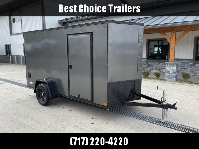 """2022 ITI Cargo 6x12' Enclosed Cargo Trailer 2990# GVW * CHARCOAL BLACKOUT PACKAGE * .030 SEMI-SCREWLESS * 1 PC ROOF * 3/8"""" WALLS * 3/4"""" FLOOR * 16"""" STONEGUARD * HIGH GLOSS PAINTED FRAME"""