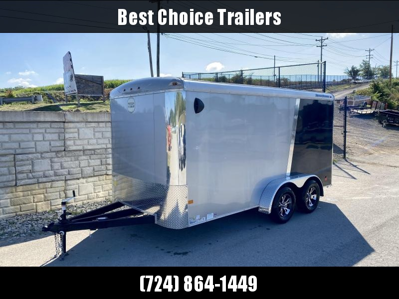 """2020 Wells Cargo 7x14' Enclosed Motorcycle Trailer 7000# GVW * BLACK + SILVER * TRIPLE TUBE TONGUE * +12"""" TONGUE * VINYL WALLS + CEILING * 6'6"""" INTERIOR HEIGHT * D-RINGS * ALUMINUM WHEELS * SCREWLESS * 1 PC ROOF"""
