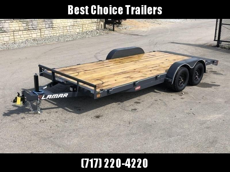 """2021 Lamar 7x16 7000# Wood Deck Car Hauler Trailer * ADJUSTABLE COUPLER * DROP LEG JACK * REMOVABLE FENDERS * EXTRA STAKE POCKETS * CHARCOAL * 4 D-RINGS * 5"""" CHANNEL FRAME * COLD WEATHER HARNESS * REAR RAMPS"""