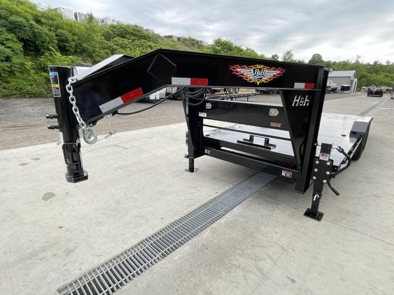 """2021 H&H 102x22' Gooseneck Power Tilt Equipment Trailer 14000# GVW * GOOSENECK COUPLER * STEEL DECK * POWER TILT * FRONT TOOLBOX * 102"""" DECK OUTRIGGERS * DRIVE OVER FENDERS * WINCH PLATE * INTEGRATED TAIL LIGHTS * CHANNEL C/M"""