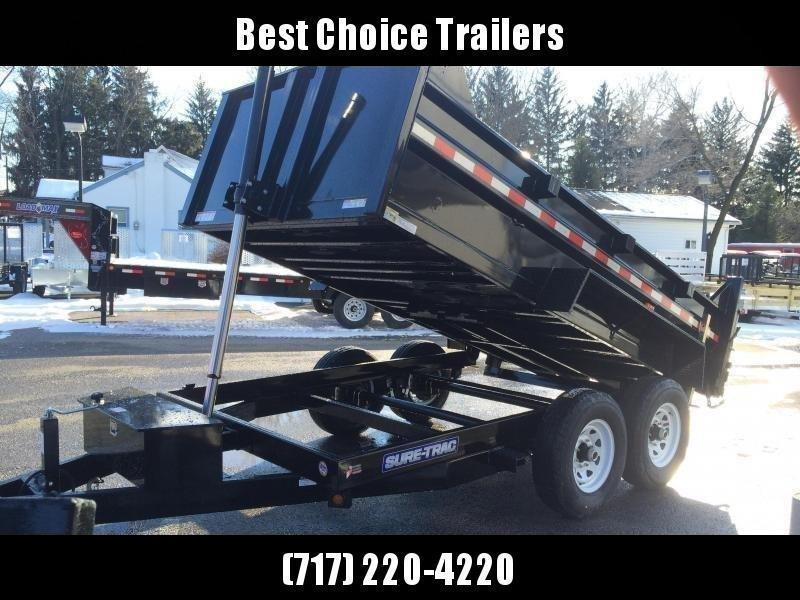 2021 Sure-Trac 7x14' Dump Trailer 14000# GVW * DELUXE TARP KIT * TELESCOPIC HOIST * FRONT/REAR BULKHEAD * INTEGRATED KEYWAY * 2' SIDES * UNDERBODY TOOL TRAY * ADJUSTABLE COUPLER * 110V CHARGER * UNDERMOUNT RAMPS * COMBO GATE