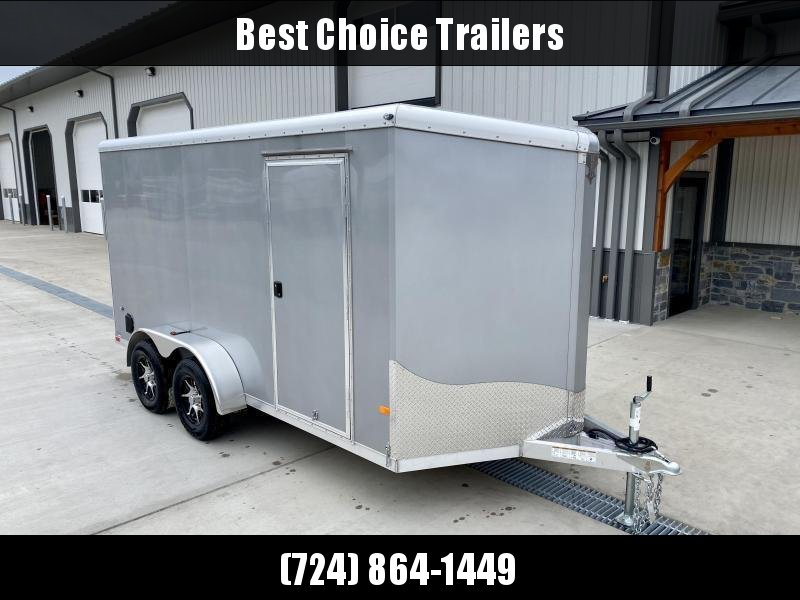"2021 NEO 7x16' NAVR Aluminum Enclosed Cargo Trailer  * CHARCOAL * SIDE VENTS * ALUMINUM WHEELS * 16"" O.C. WALLS/CEILING * RAMP DOOR * 6'6"" HEIGHT * SCREWLESS"