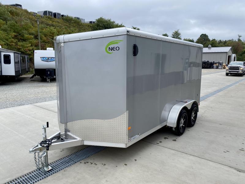 "2021 NEO 7x16' NAVR Aluminum Enclosed Cargo Trailer  * CHARCOAL * SIDE VENTS * ALUMINUM WHEELS * 16"" O.C. WALLS/CEILING * RAMP DOOR * 6'6"" HEIGHT * SCREWLESS"