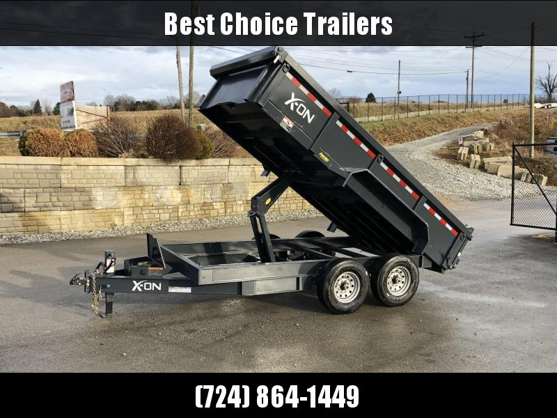 "2019 X-on 7x14' Dump Trailer 16000# GVW * 8000# AXLE UPGRADE * 14-PLY RUBBER * 7 GA FLOOR * TARP KIT * SCISSOR * 3 WAY GATE * 8"" I-BEAM TONGUE & FRAME UPGRADE * CLEARANCE"