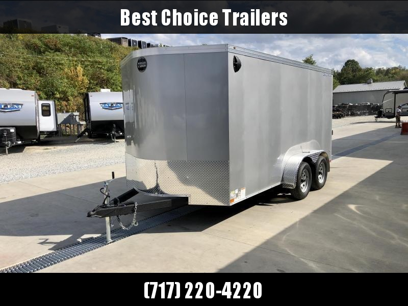 "2021 Wells Cargo 7x14' Enclosed Motorcycle Trailer 7000# GVW * SILVER EXTERIOR * 6'6"" INTERIOR HEIGHT * D-RINGS * SCREWLESS * STABILIZER JACKS * WHEEL CHOCK * TRANSITION PLATE * RAMP DOOR * RV DOOR * CLEARANCE"