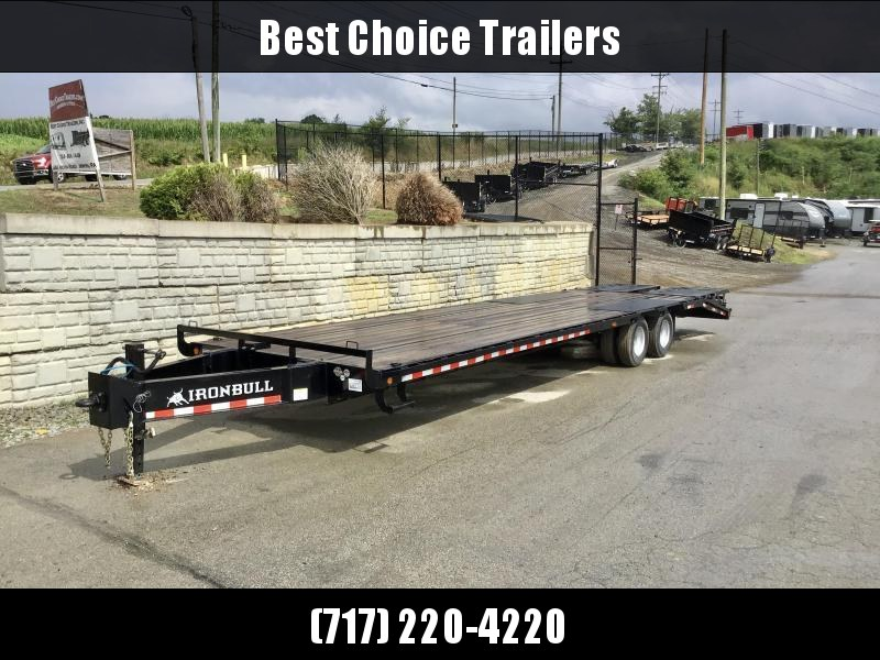2021 Ironbull 102x26' Pintle Beavertail Deckover Trailer 25990# GVW * 12000# DEXTER'S * FULL WIDTH RAMPAGE RAMPS * PIERCED FRAME * UNDER FRAME BRIDGE * TORQUE TUBE * MUD FLAPS * SPARE MOUNT