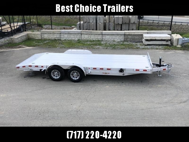 "2021 H and H 7x20' Deluxe Aluminum Car Hauler Trailer 9990# GVW * EXTRUDED ALUMINUM FLOOR * TORSION AXLES * SWIVEL D-RINGS * EXTRA STAKE POCKETS * HEAVY DUTY 8"" FRAME * DROP LEG JACK * ALUMINUM WHEELS * REMOVABLE FENDERS * CHANNEL C/M"