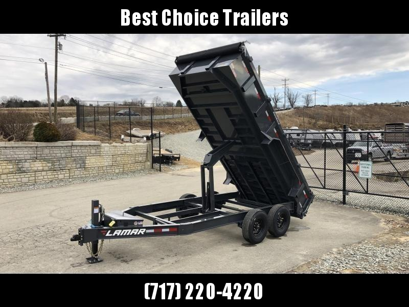 "2021 Lamar 7x16' Dump Trailer 14000# GVW * HYDRAULIC JACK * OIL BATH HUBS * REAR JACKSTANDS * 14-PLY TIRES * 12"" O.C. C/M * 7GA FLOOR  * TARP KIT * SCISSOR HOIST * 12K JACK * CHARCOAL * RIGID RAILS * HD COUPLER * NESTLED I-BEAM FRAME 28"" H * 3-WAY GATE"