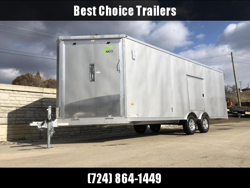 2020 NEO 8.5x22' NMS Aluminum Enclosed All Sport Car Hauler Trailer 9990# GVW * SILVER * BIKES UTV'S SNOWMOBILE CARS ATV'S * ROUND TOP * ALUM WHEELS * 5200# TORSION *12V POWER PKG * VINYL LINER/WALLS * CABINET * FRONT RAMP