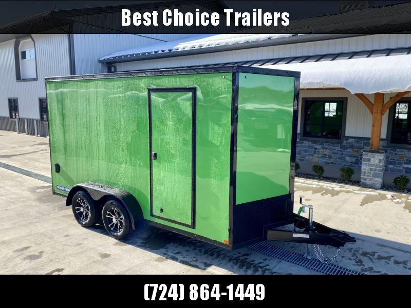 "2021 Sure-Trac 7x14' Enclosed Cargo Trailer 7000# GVW * PEARL CAT GREEN EXTERIOR * BLACKOUT TRIM PACKAGE * TORSION * .030 SCREWLESS * ALUM WHEELS * 1PC ROOF * 7' HEIGHT * 6"" FRAME * LED LIGHTS * BACKUP LIGHTS"