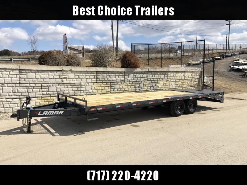 """2021 Lamar 102x24' Beavertail Deckover Trailer 14000# GVW * DUAL JACKS * FULL WIDTH (FLIPOVER OR STAND UP) RAMPS + SPRING ASSIST  * CHARCOAL * TOOL TRAY * HD COUPLER * I-BEAM FRAME * 16"""" O.C. C/M * RUBRAIL/STAKE POCKETS/PIPE SPOOLS * CHANNE"""