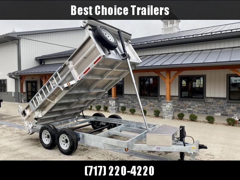 2022 QSA 7x14' Aluminum Dump Trailer 14000# GVW * RAMPS * 2' SIDES * DUAL RAM HOIST * OVERSIZE TOOLBOX * 12K DROP LEG JACK * FRONT/REAR BULKHEAD * ALUMINUM WHEELS * CLEARANCE
