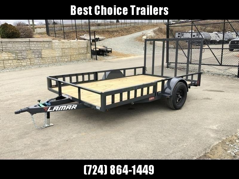 """2020 Lamar 7x12' ATV Utility Landscape Trailer 2990# GVW * ATV RAMPS * CHARCOAL * CAST COUPLER * SEALED COLD WEATHER HARNESS * 4"""" CHANNEL FULL WRAP TONGUE * STAKE POCKET TIE DOWNS * 2X2"""" TUBE GATE C/M * SPRING ASSIST GATE * SWVIEL JACK"""