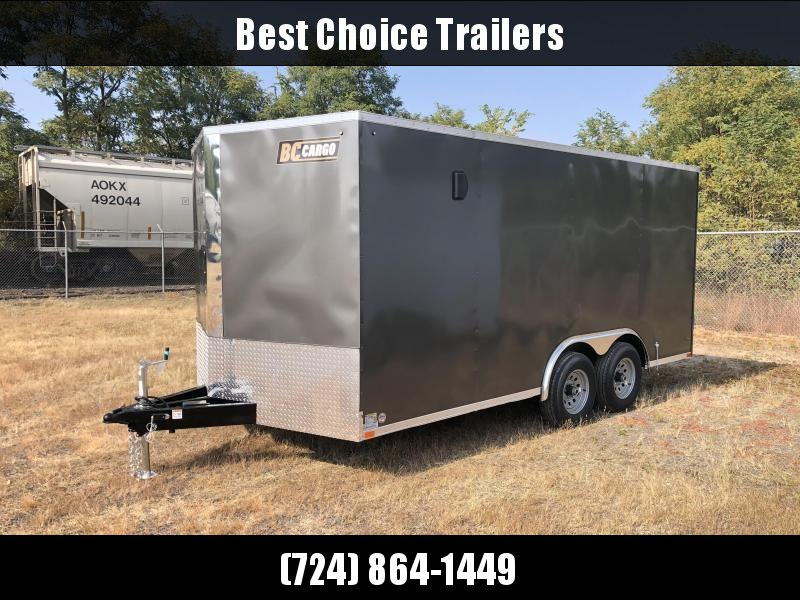 "2021 ITI Cargo 8.5x16 Enclosed Car Hauler Trailer 9900# GVW * CHARCOAL EXTERIOR * RAMP * .030 SEMI-SCREWLESS * RV DOOR * 1 PC ROOF * 3/8"" WALLS * 3/4"" FLOOR * PLYWOOD * TRIPLE TUBE TONGUE * 6'6"" INTERIOR * 24"" STONEGUARD * HIGH GLOSS PAINTED FRAME *"