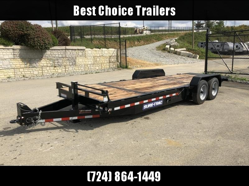 "2021 Sure Trac 7x20' Gravity Tilt Equipment Trailer 16000# GVW * TOOLBOX * OAK DECK * 8000# AXLE UPGRADE * 16+4' SPLIT DECK * 17.5"" 16-PLY RUBBER * 3 3/8"" BRAKES * 8"" TONGUE/FRAME/BEDFRAME UPGRADE * HD COUPLER * 12K JACK * RUBRAIL/STAKE POCKETS/D-RINGS *"