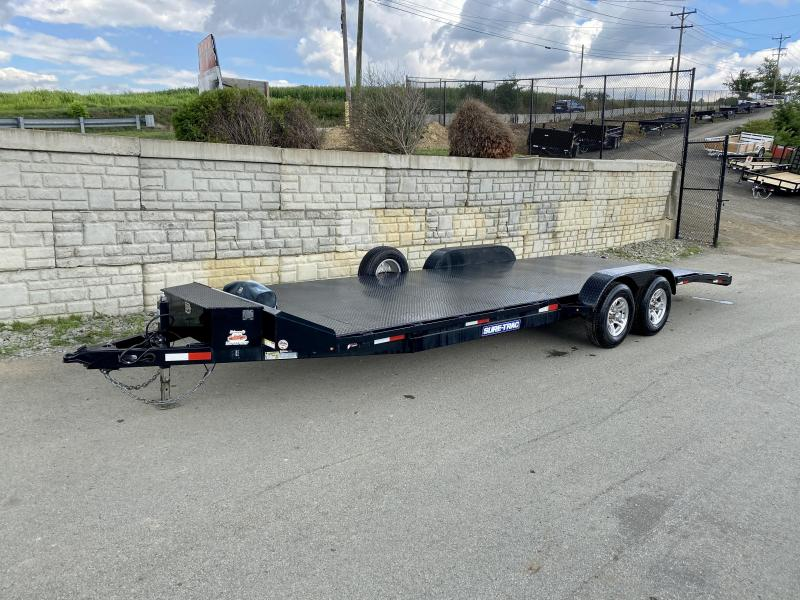 """USED 2018 Sure-Trac 7x24' Steel Deck Car Hauler 9900# GVW * 4' BEAVERTAIL * LOW LOAD ANGLE * ALUMINUM WHEELS * 5"""" TUBE TONGUE/FRAME * AIR DAM * RUBRAIL/STAKE POCKETS/D-RINGS * REAR SLIDEOUT PUNCH PLATE RAMPS * TOOLBOX * SPARE TIRE * WINCH"""