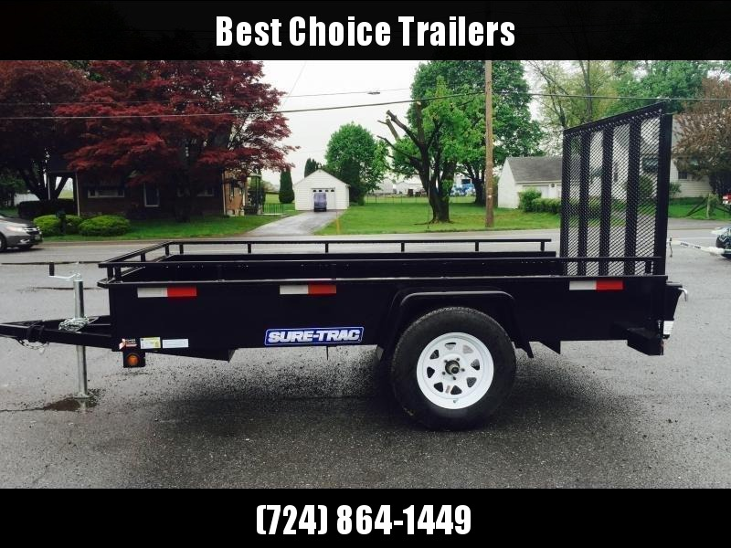 "2021 Sure-Trac 6x12' Solid Side Utility Landscape Trailer 2990# GVW * 2X2"" TUBE GATE C/M + SPRING ASSIST * FOLD FLAT GATE * TOOLESS GATE REMOVAL * SPARE MOUNT * PROTECTED WIRING * SET BACK JACK * TRIPLE TUBE TONGUE * HD FENDERS * TUBE BUMPER * HIGH SIDE"