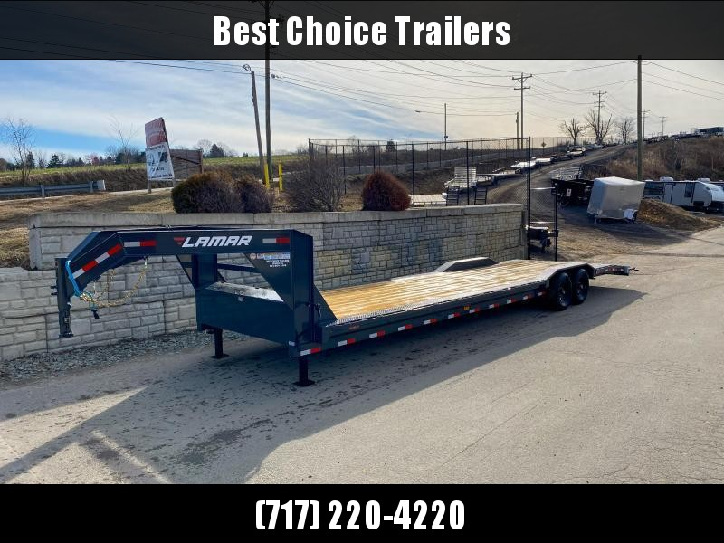 "2021 Lamar 102x34' Gooseneck Car Hauler Trailer 14000# GVW * 102"" DECK * DRIVE OVER FENDERS * OVERLENGTH 7' SLIDE IN RAMPS * 4' DOVETAIL * RUBRAIL * SWIVEL JACKS * UNDER FRAME BRIDGE * DUAL JACKS * FULL TOOLBOX * CHARCOAL W/ BLACK WHEELS"