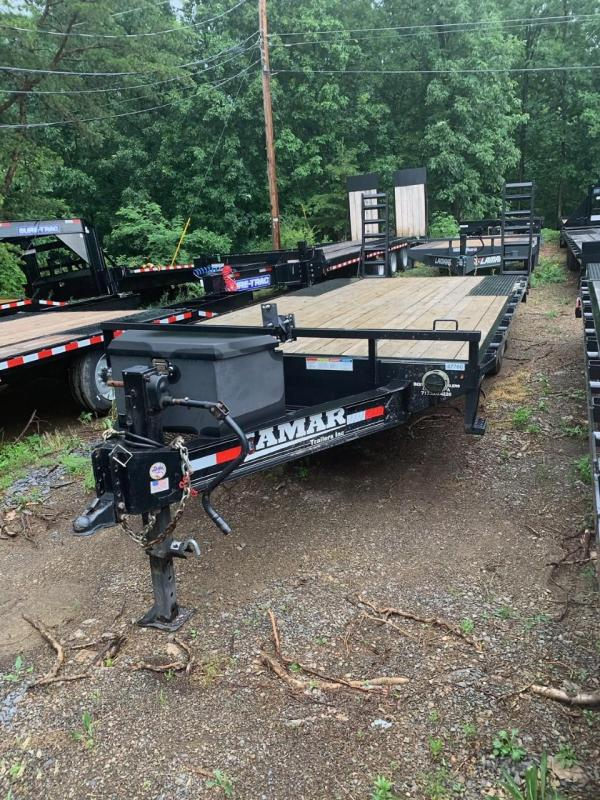 "USED 2020 Lamar 102x20' Beavertail Deckover Trailer 14000# GVW * DELUXE OVERWIDTH RAMPS W/ MESH FACE + SPRING ASSIST  * CHARCOAL * TOOL TRAY * HD COUPLER * I-BEAM FRAME * 16"" O.C. C/M * RUBRAIL/STAKE POCKETS/PIPE SPOOLS * CHANNEL SIDE RAIL * 4X8"" TUBE"